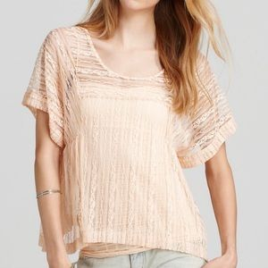 FREE PEOPLE Pink Lace Short Sleeve Top